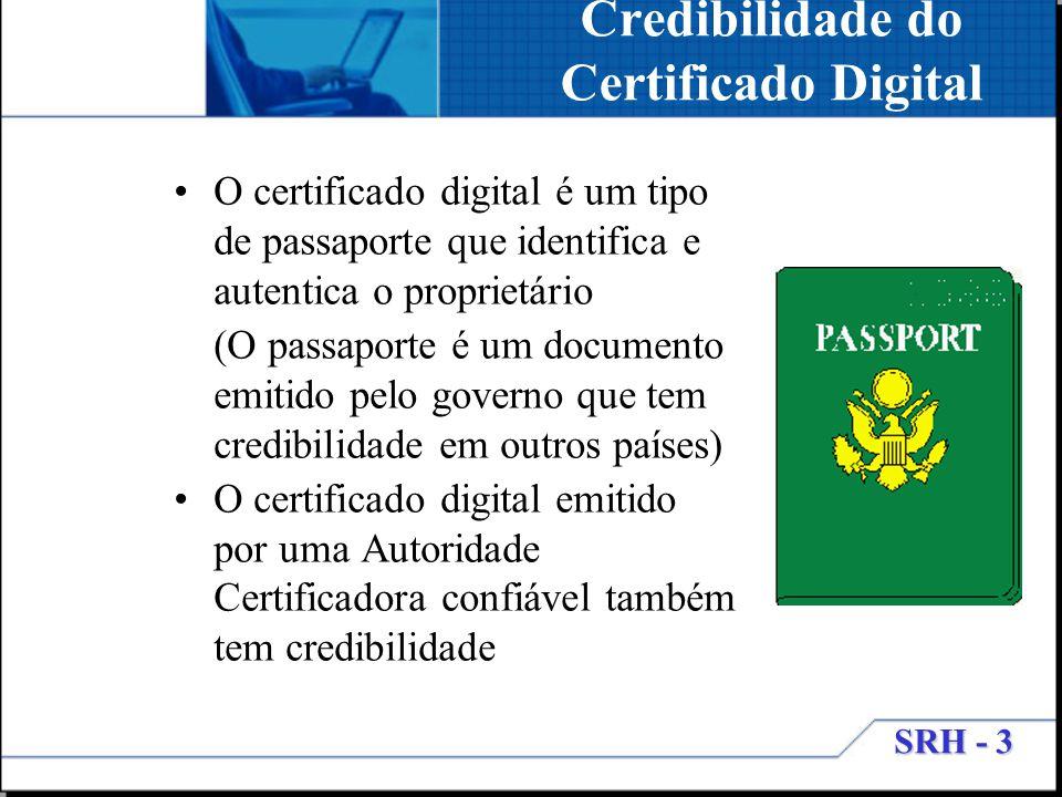 SRH - 3 Credibilidade do Certificado Digital O certificado digital é um tipo de passaporte que identifica e autentica o proprietário (O passaporte é u