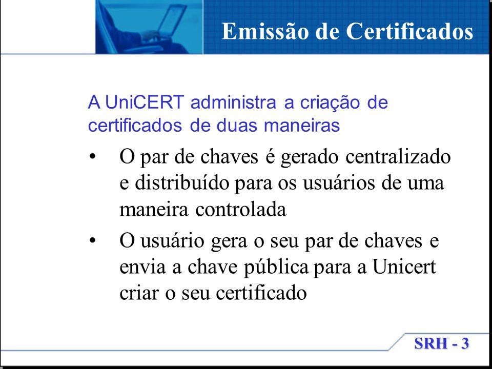 SRH - 3 Emissão de Certificados O par de chaves é gerado centralizado e distribuído para os usuários de uma maneira controlada O usuário gera o seu pa