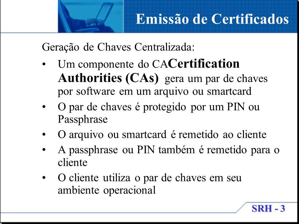 SRH - 3 Geração de Chaves Centralizada: Um componente do CA Certification Authorities (CAs) gera um par de chaves por software em um arquivo ou smartc