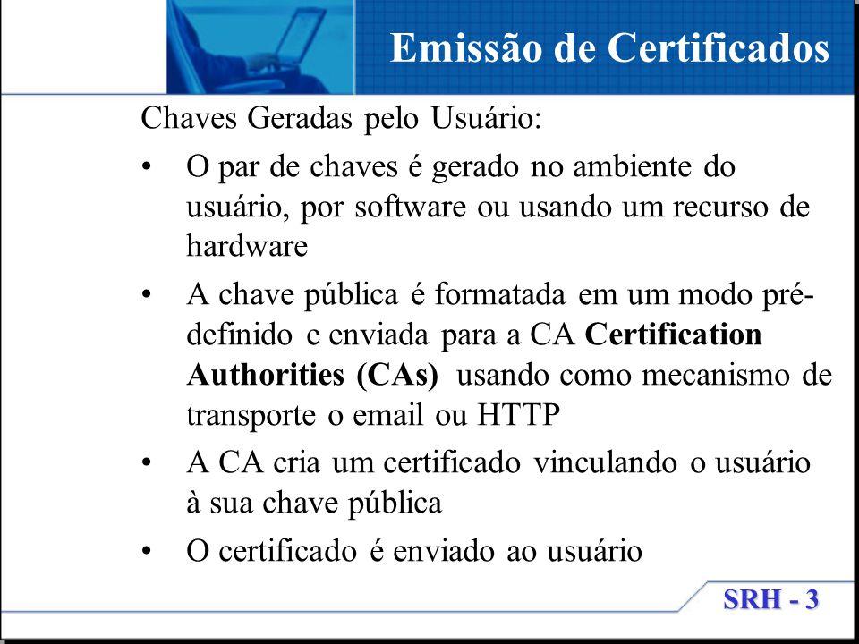 SRH - 3 Chaves Geradas pelo Usuário: O par de chaves é gerado no ambiente do usuário, por software ou usando um recurso de hardware A chave pública é