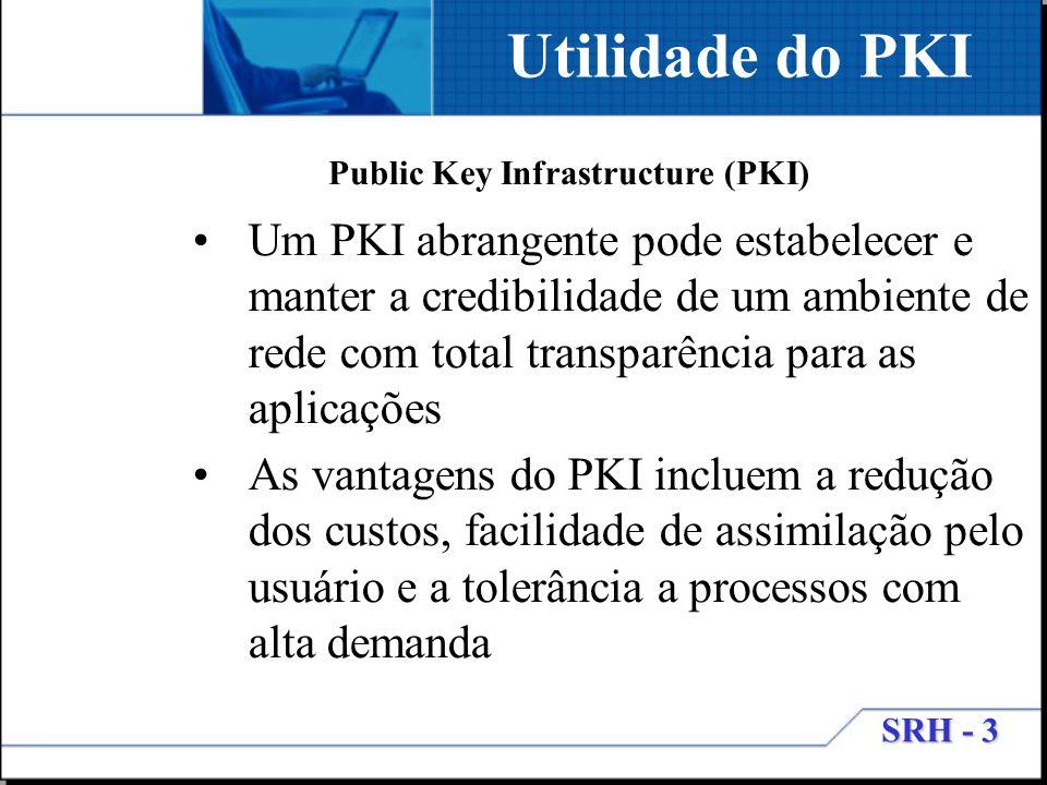 SRH - 3 Utilidade do PKI Um PKI abrangente pode estabelecer e manter a credibilidade de um ambiente de rede com total transparência para as aplicações