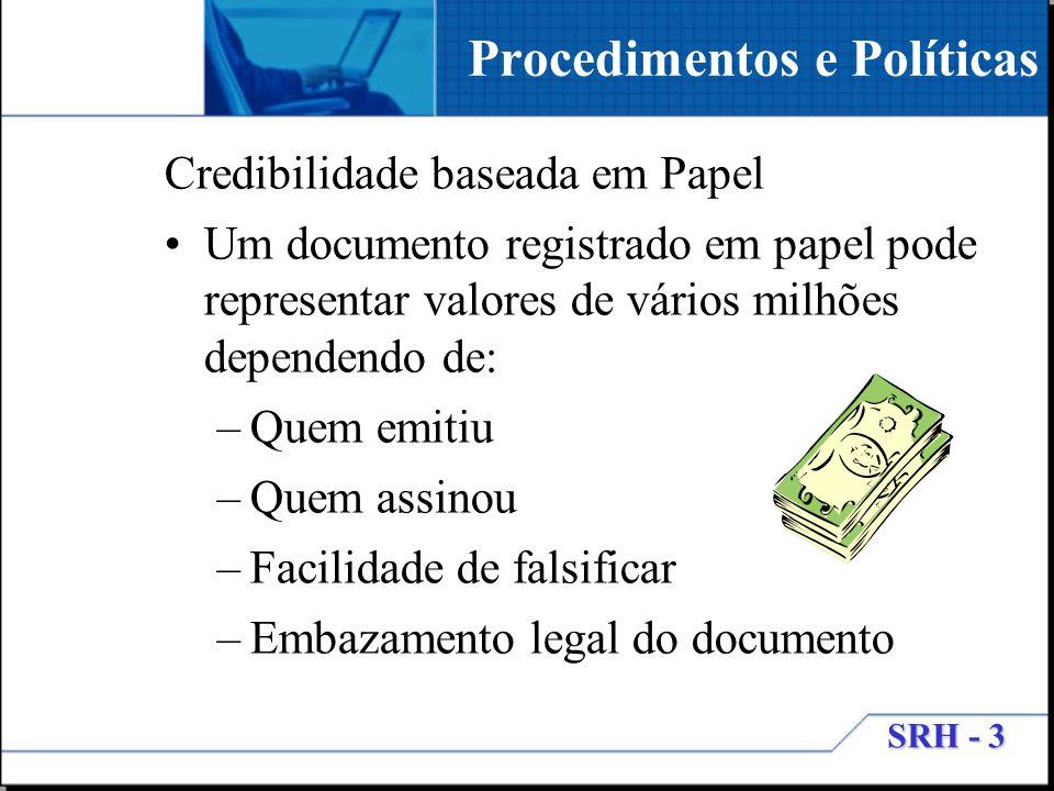 SRH - 3 Credibilidade baseada em Papel Um documento registrado em papel pode representar valores de vários milhões dependendo de: –Quem emitiu –Quem a