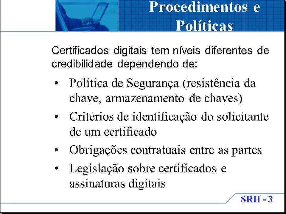 SRH - 3 Procedimentos e Políticas Política de Segurança (resistência da chave, armazenamento de chaves) Critérios de identificação do solicitante de u