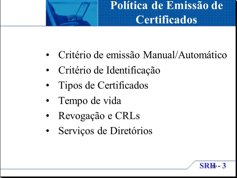 SRH - 3 69 Critério de emissão Manual/Automático Critério de Identificação Tipos de Certificados Tempo de vida Revogação e CRLs Serviços de Diretórios