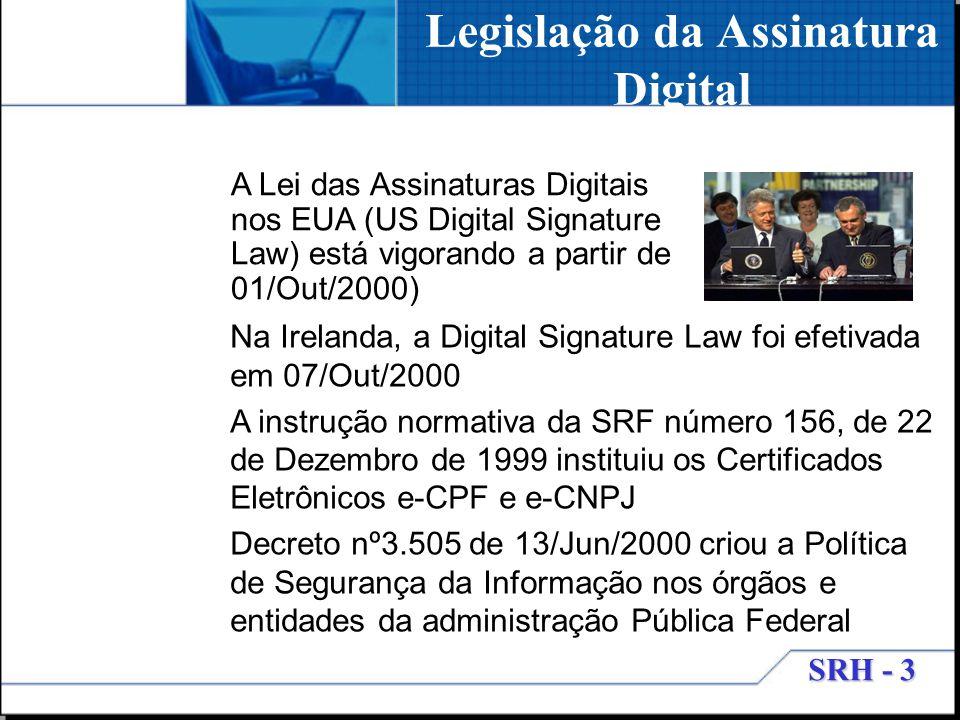 SRH - 3 Legislação da Assinatura Digital A Lei das Assinaturas Digitais nos EUA (US Digital Signature Law) está vigorando a partir de 01/Out/2000) Na