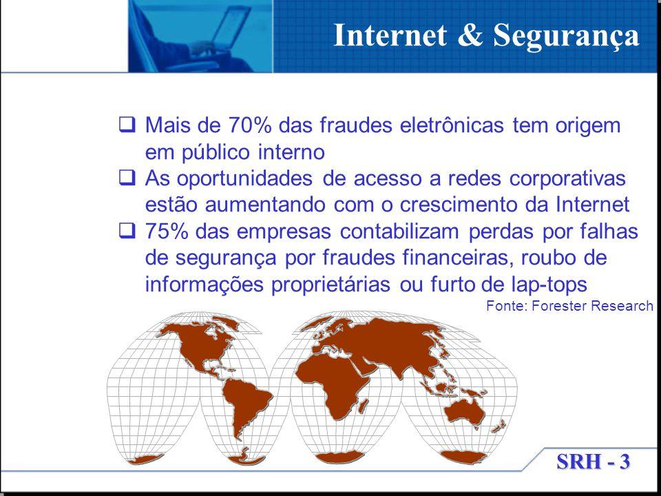 SRH - 3 Internet & Segurança Mais de 70% das fraudes eletrônicas tem origem em público interno As oportunidades de acesso a redes corporativas estão a