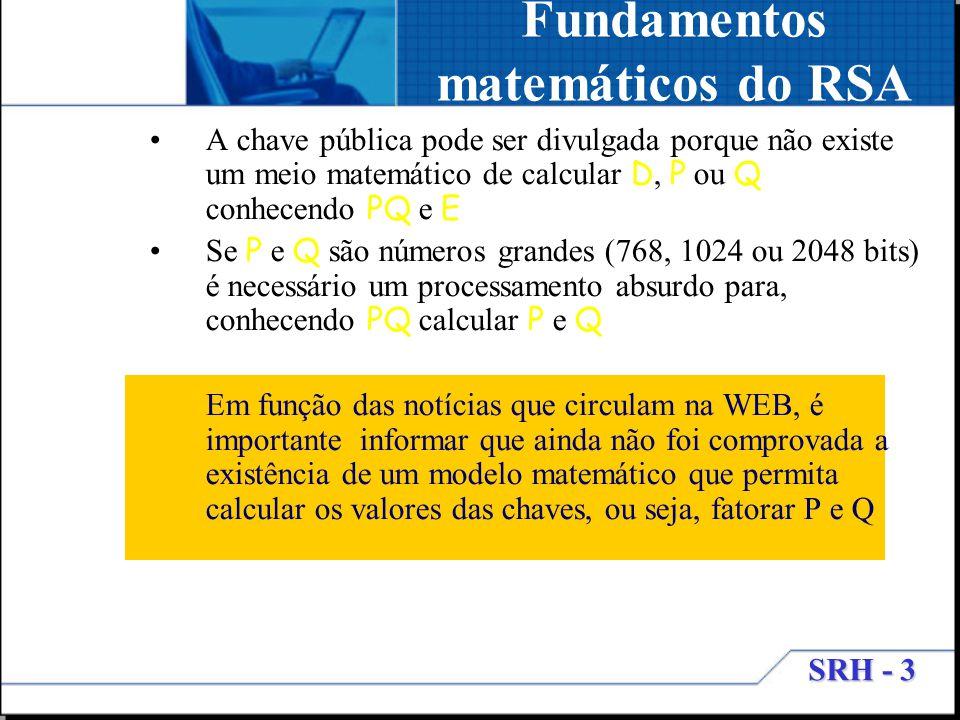 SRH - 3 Fundamentos matemáticos do RSA A chave pública pode ser divulgada porque não existe um meio matemático de calcular D, P ou Q conhecendo PQ e E