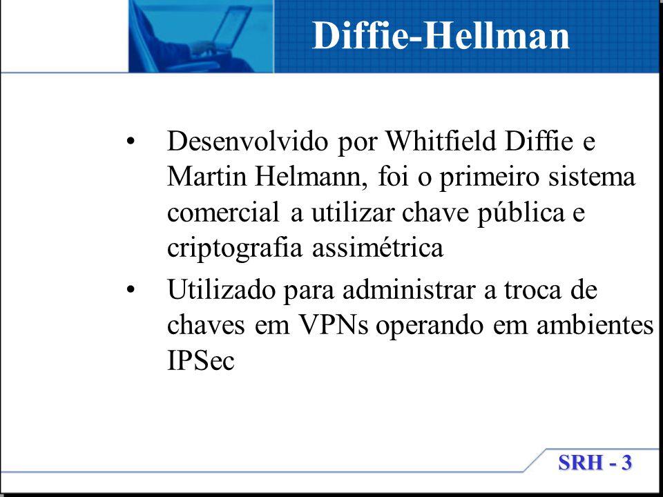 SRH - 3 Diffie-Hellman Desenvolvido por Whitfield Diffie e Martin Helmann, foi o primeiro sistema comercial a utilizar chave pública e criptografia as
