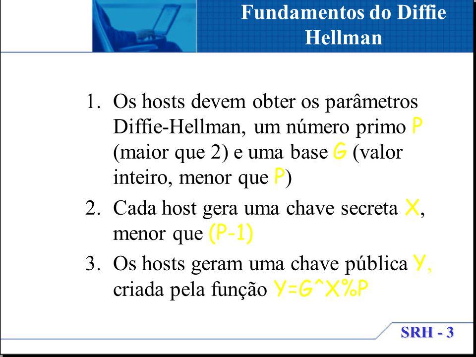 SRH - 3 1.Os hosts devem obter os parâmetros Diffie-Hellman, um número primo P (maior que 2) e uma base G (valor inteiro, menor que P ) 2.Cada host ge