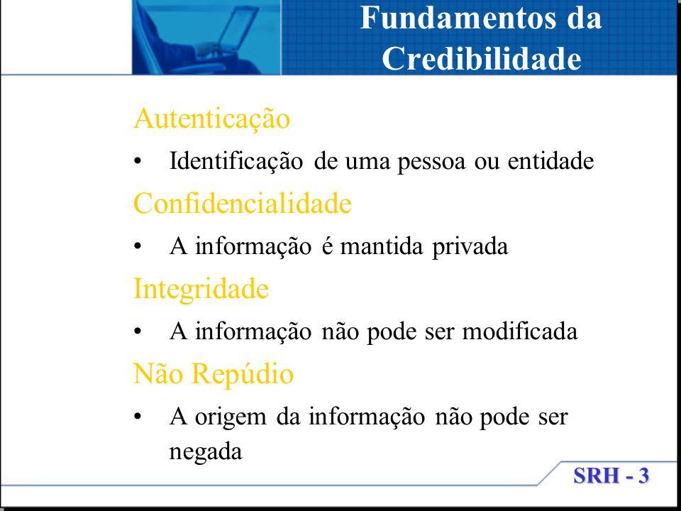SRH - 3 Fundamentos da Credibilidade Autenticação Identificação de uma pessoa ou entidade Confidencialidade A informação é mantida privada Integridade