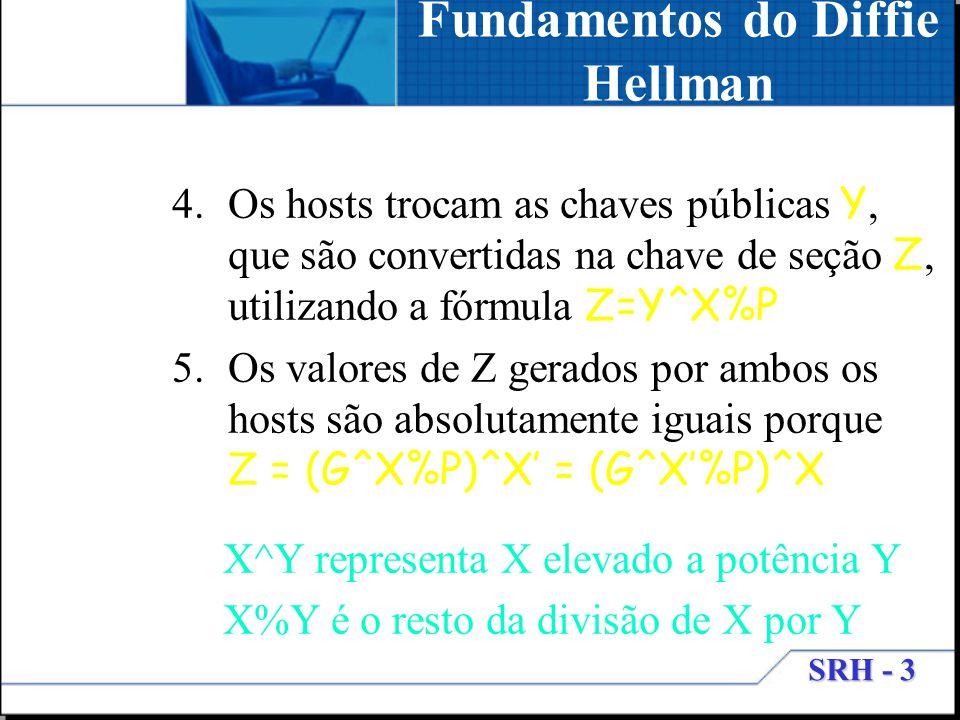SRH - 3 4.Os hosts trocam as chaves públicas Y, que são convertidas na chave de seção Z, utilizando a fórmula Z=Y^X%P 5.Os valores de Z gerados por am