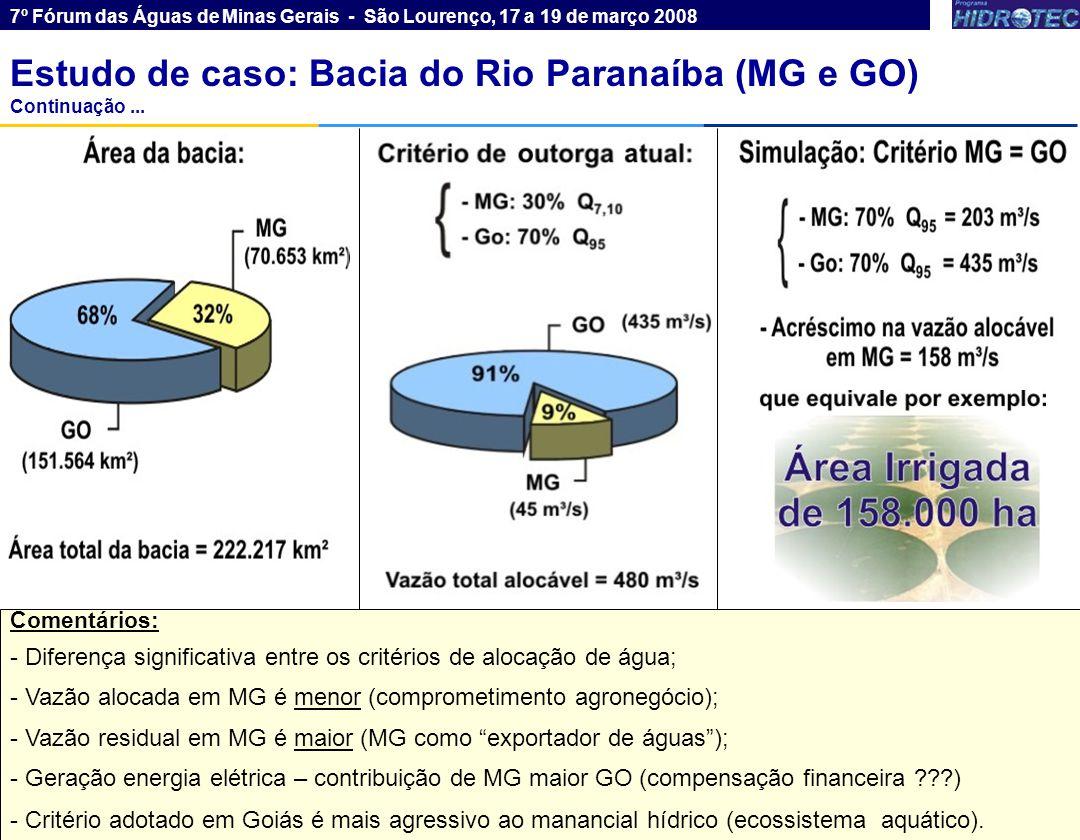 6 Rio Paraná Rio Grande Estudo de caso: Bacia do Rio Paranaíba (MG e GO) 7º Fórum das Águas de Minas Gerais - São Lourenço, 17 a 19 de março 2008 Estudo de caso: Bacia do Rio Grande (MG e SP)