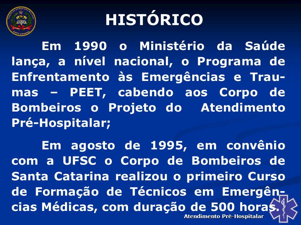 Atendimento Pré-Hospitalar Ainda em 1995, a OFDA/USAID interessou- se pelo Brasil e auxiliado pela UDESC, organizou um Programa de Capacitação para Bombeiros, com apoio do Departamento de Bombeiros de Miami Dade da Flórida/EUA.