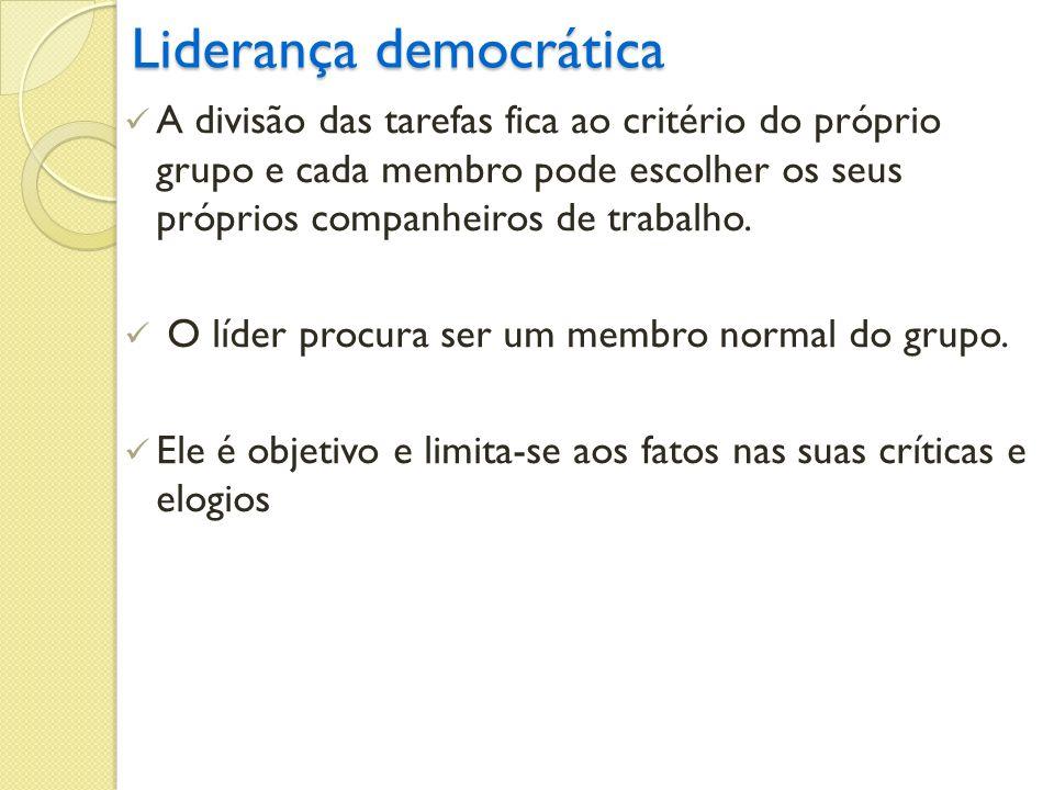 Liderança democrática A divisão das tarefas fica ao critério do próprio grupo e cada membro pode escolher os seus próprios companheiros de trabalho. O