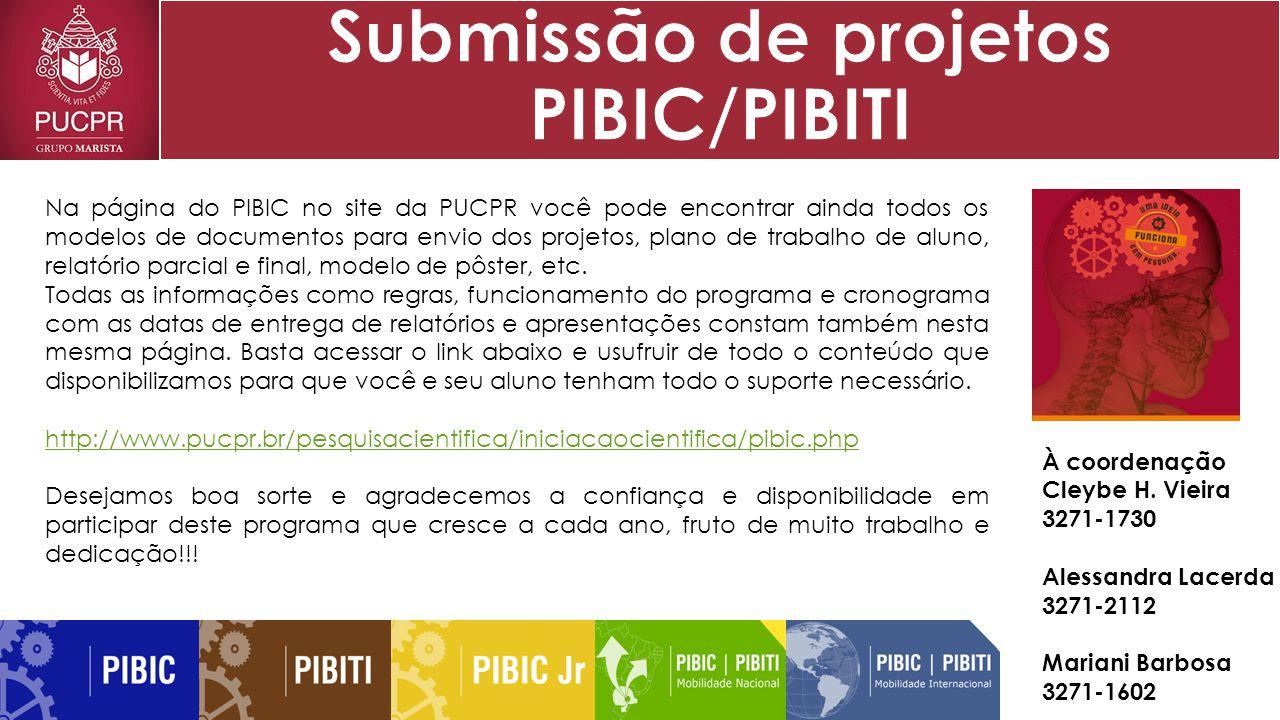 Na página do PIBIC no site da PUCPR você pode encontrar ainda todos os modelos de documentos para envio dos projetos, plano de trabalho de aluno, relatório parcial e final, modelo de pôster, etc.
