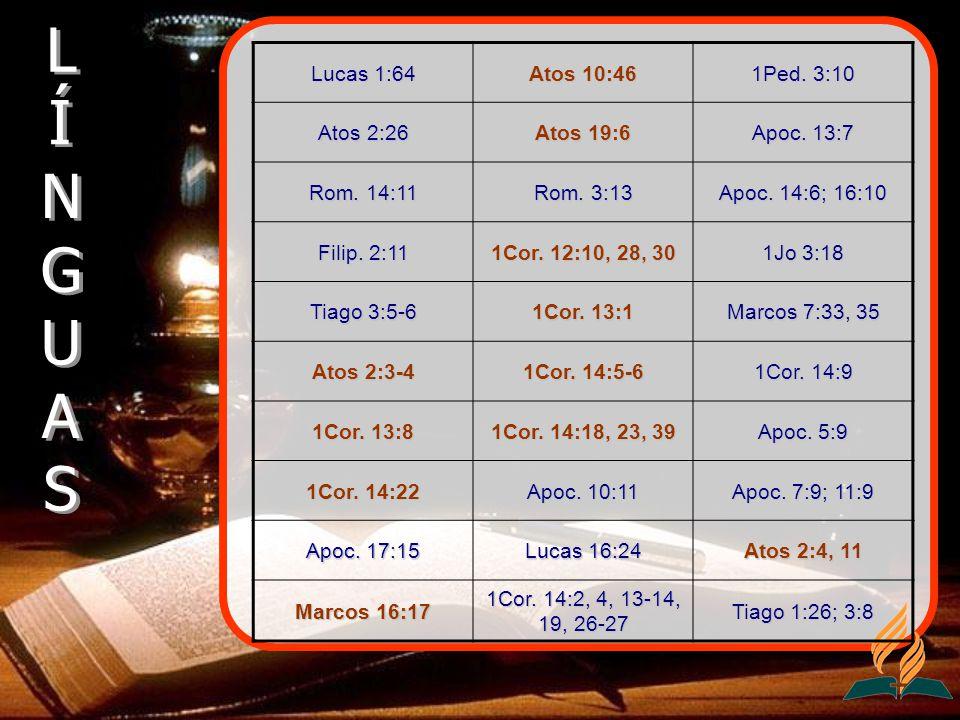 Lucas 1:64 Atos 10:46 1Ped. 3:10 Atos 2:26 Atos 19:6 Apoc. 13:7 Rom. 14:11 Rom. 3:13 Apoc. 14:6; 16:10 Filip. 2:11 1Cor. 12:10, 28, 30 1Jo 3:18 Tiago