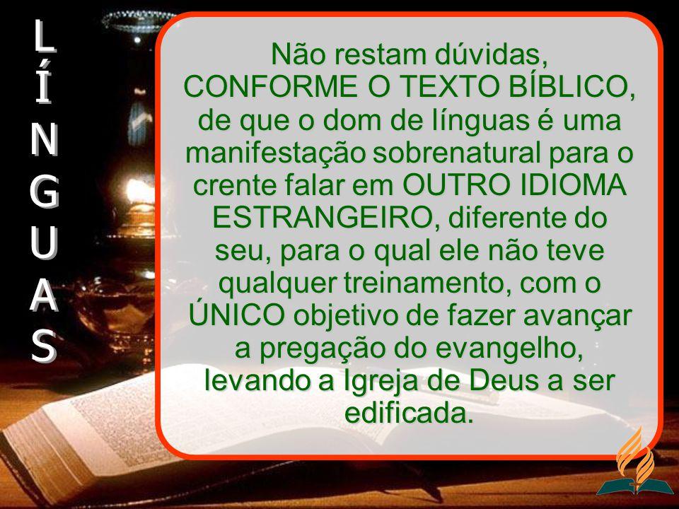 Não restam dúvidas, CONFORME O TEXTO BÍBLICO, de que o dom de línguas é uma manifestação sobrenatural para o crente falar em OUTRO IDIOMA ESTRANGEIRO,