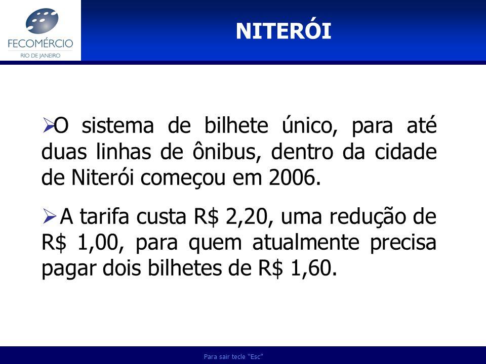 NITERÓI Para sair tecle Esc O sistema de bilhete único, para até duas linhas de ônibus, dentro da cidade de Niterói começou em 2006. A tarifa custa R$