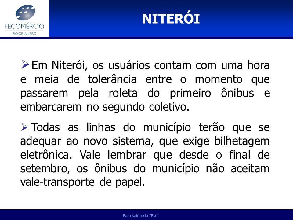 Para sair tecle Esc Em Niterói, os usuários contam com uma hora e meia de tolerância entre o momento que passarem pela roleta do primeiro ônibus e emb