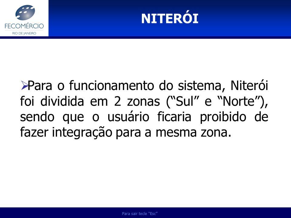 Para sair tecle Esc Para o funcionamento do sistema, Niterói foi dividida em 2 zonas (Sul e Norte), sendo que o usuário ficaria proibido de fazer inte