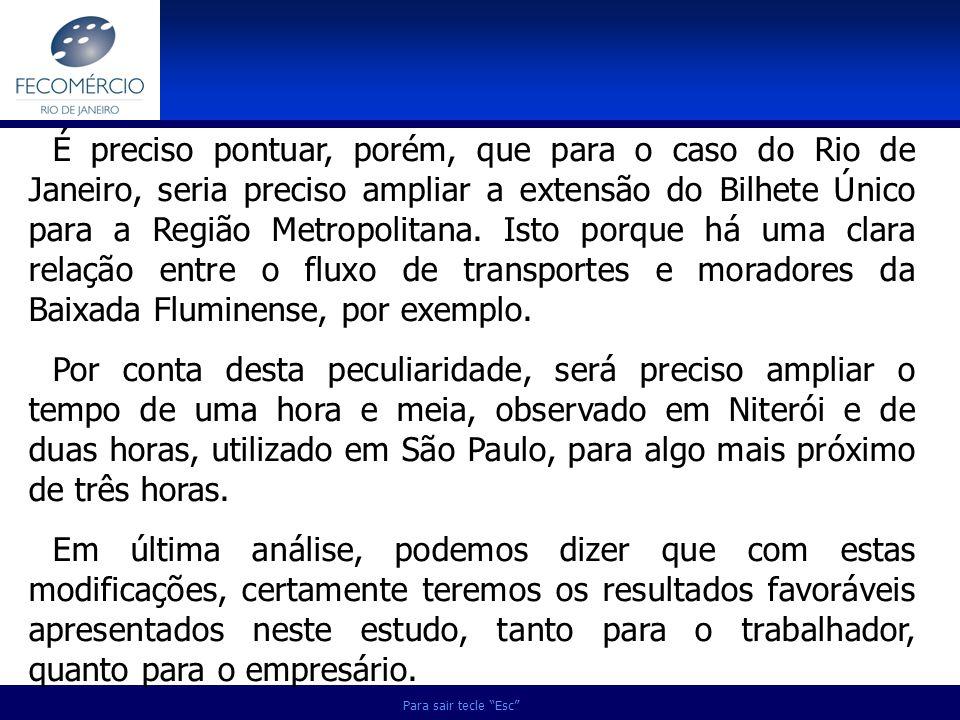 Para sair tecle Esc É preciso pontuar, porém, que para o caso do Rio de Janeiro, seria preciso ampliar a extensão do Bilhete Único para a Região Metro