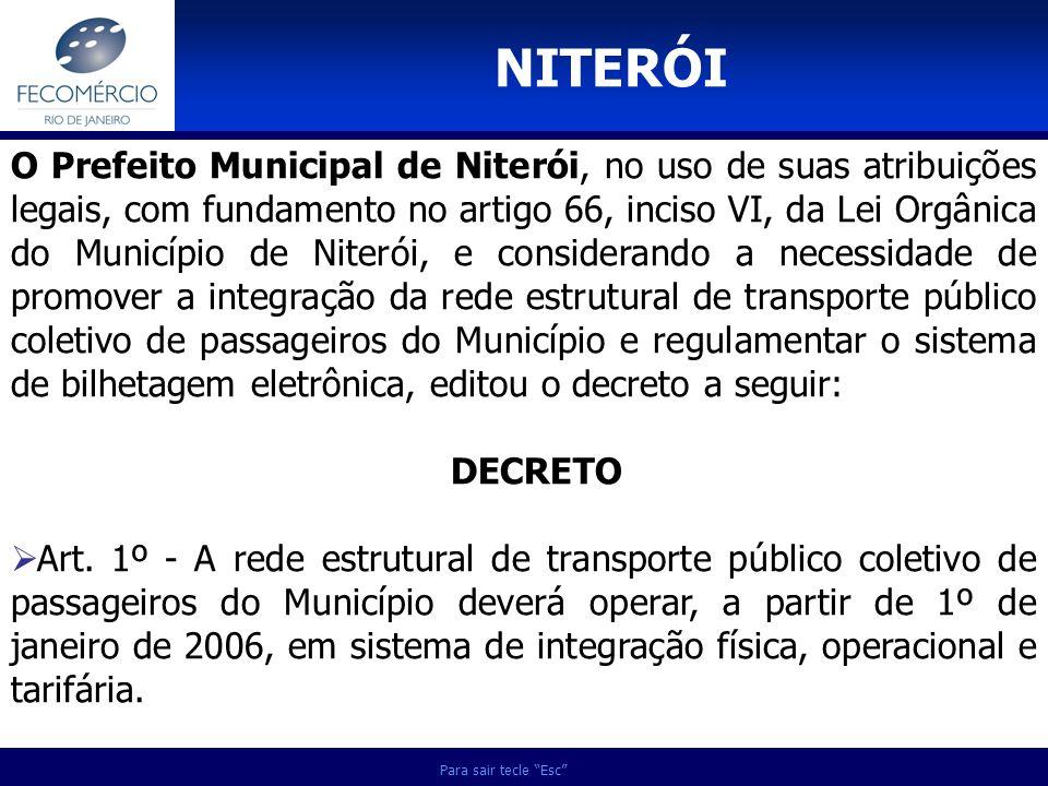 Para sair tecle Esc O Prefeito Municipal de Niterói, no uso de suas atribuições legais, com fundamento no artigo 66, inciso VI, da Lei Orgânica do Mun
