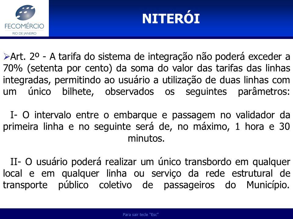 Para sair tecle Esc Art. 2º - A tarifa do sistema de integração não poderá exceder a 70% (setenta por cento) da soma do valor das tarifas das linhas i