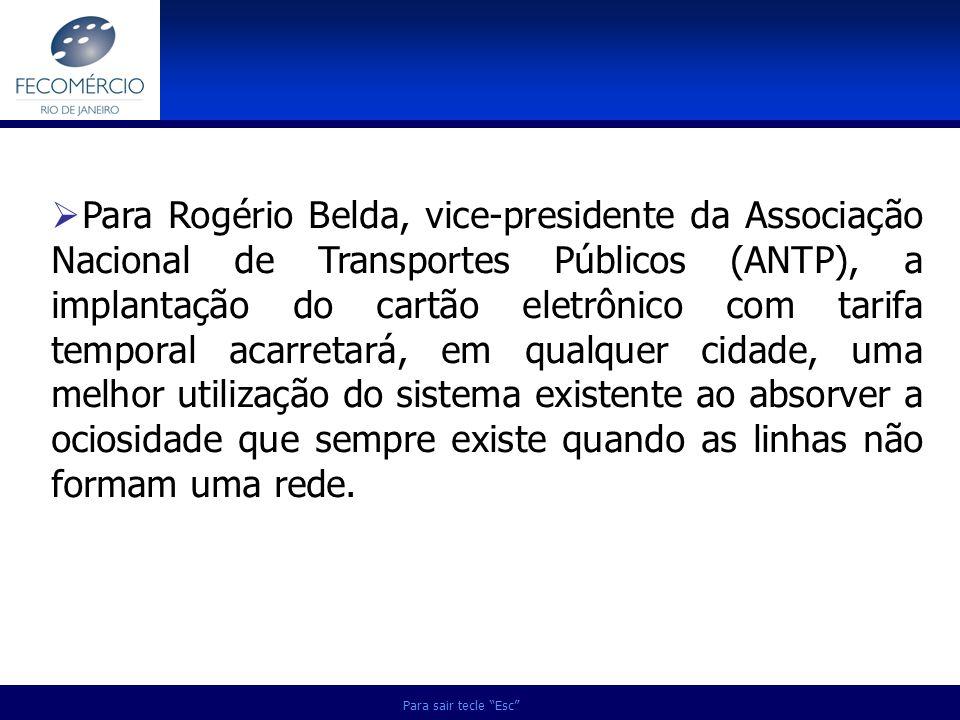 Para sair tecle Esc Para Rogério Belda, vice-presidente da Associação Nacional de Transportes Públicos (ANTP), a implantação do cartão eletrônico com