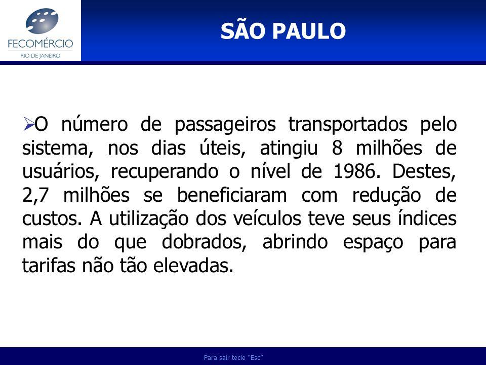 SÃO PAULO Para sair tecle Esc O número de passageiros transportados pelo sistema, nos dias úteis, atingiu 8 milhões de usuários, recuperando o nível d