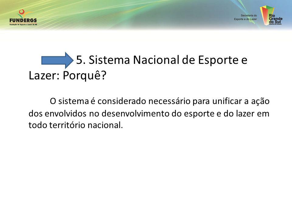 5. Sistema Nacional de Esporte e Lazer: Porquê? O sistema é considerado necessário para unificar a ação dos envolvidos no desenvolvimento do esporte e
