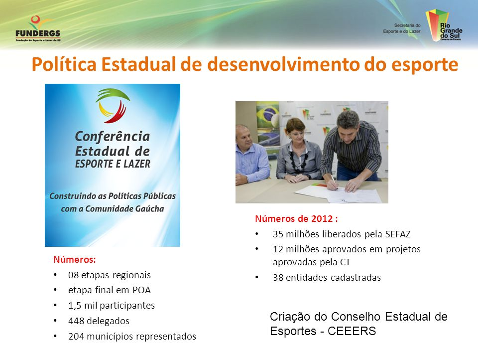 Números: 08 etapas regionais etapa final em POA 1,5 mil participantes 448 delegados 204 municípios representados Números de 2012 : 35 milhões liberado