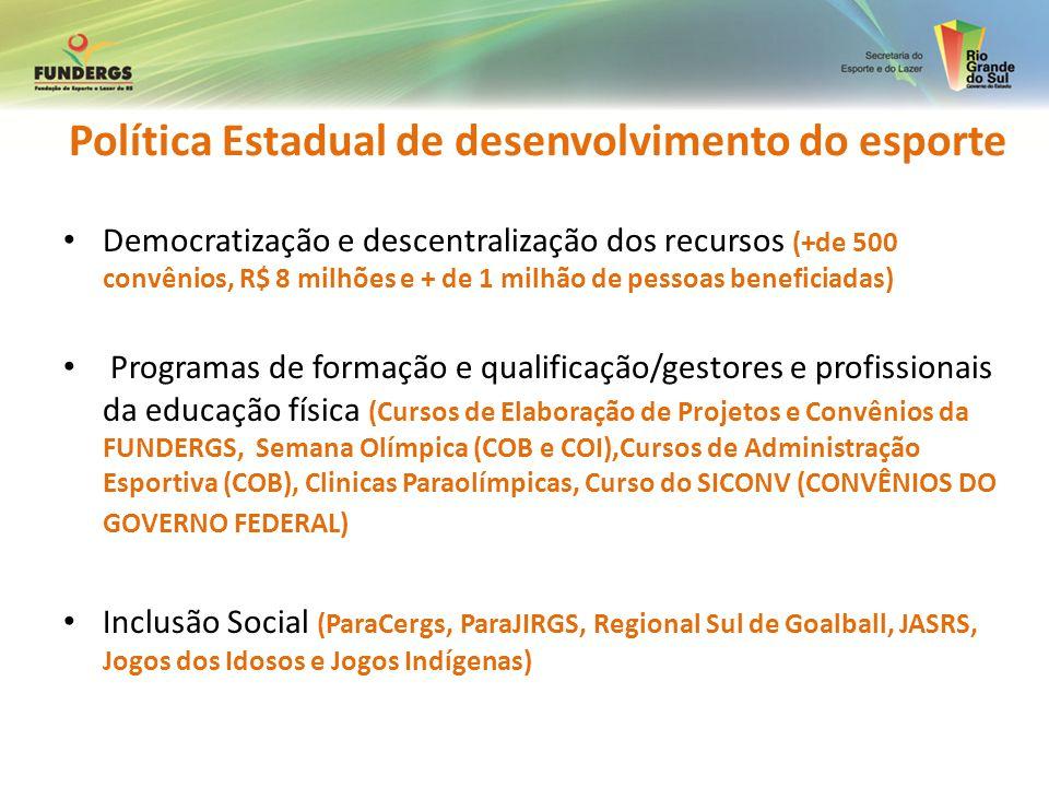 Política Estadual de desenvolvimento do esporte Democratização e descentralização dos recursos (+de 500 convênios, R$ 8 milhões e + de 1 milhão de pes