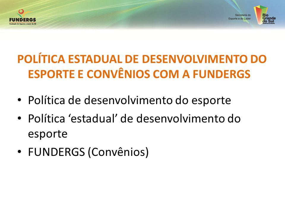 POLÍTICA ESTADUAL DE DESENVOLVIMENTO DO ESPORTE E CONVÊNIOS COM A FUNDERGS Política de desenvolvimento do esporte Política estadual de desenvolvimento