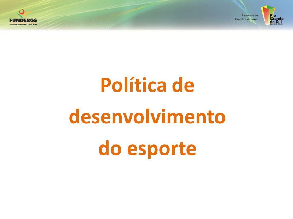 Esporte como questão de Estado (ME criado em 2003 no início do Governo LULA) 1.