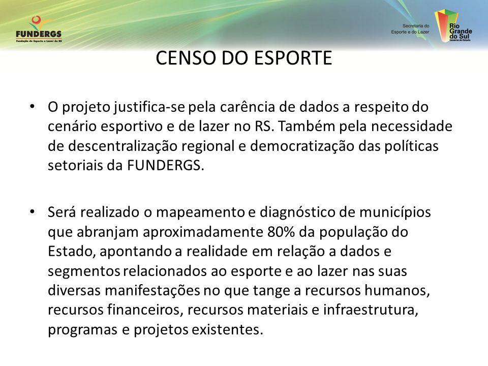 CENSO DO ESPORTE O projeto justifica-se pela carência de dados a respeito do cenário esportivo e de lazer no RS. Também pela necessidade de descentral