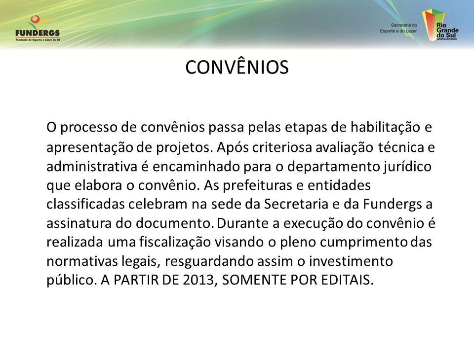 CONVÊNIOS O processo de convênios passa pelas etapas de habilitação e apresentação de projetos. Após criteriosa avaliação técnica e administrativa é e