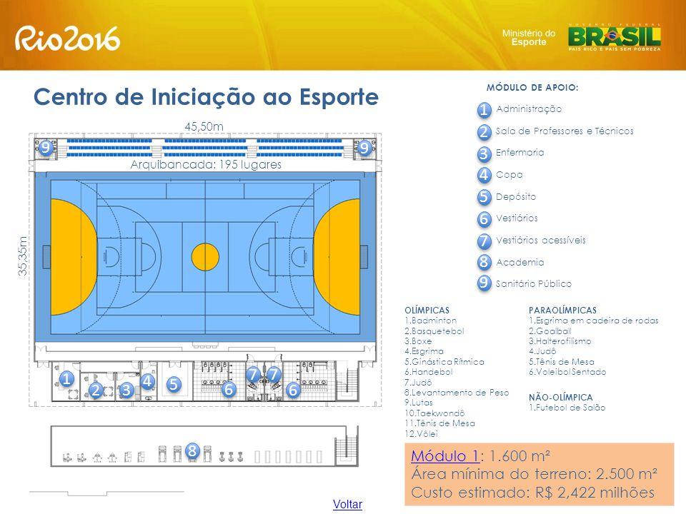 Centro de Iniciação ao Esporte OLÍMPICAS 1.Badminton 2.Basquetebol 3.Boxe 4.Esgrima 5.Ginástica Rítmica 6.Handebol 7.Judô 8.Levantamento de Peso 9.Lut