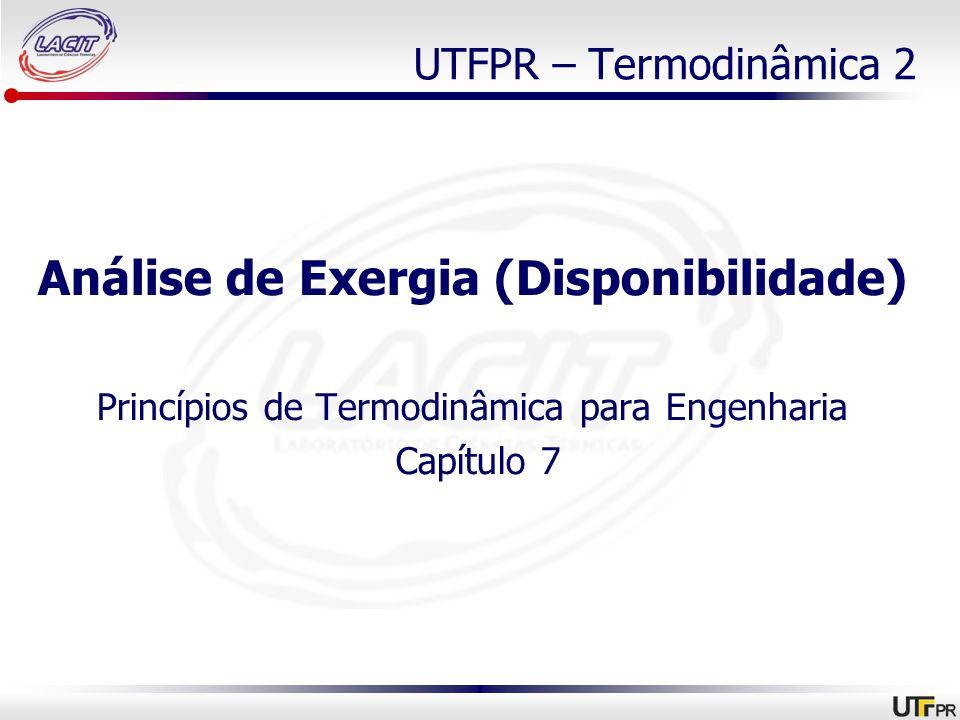 UTFPR – Termodinâmica 2 Análise de Exergia (Disponibilidade) Princípios de Termodinâmica para Engenharia Capítulo 7