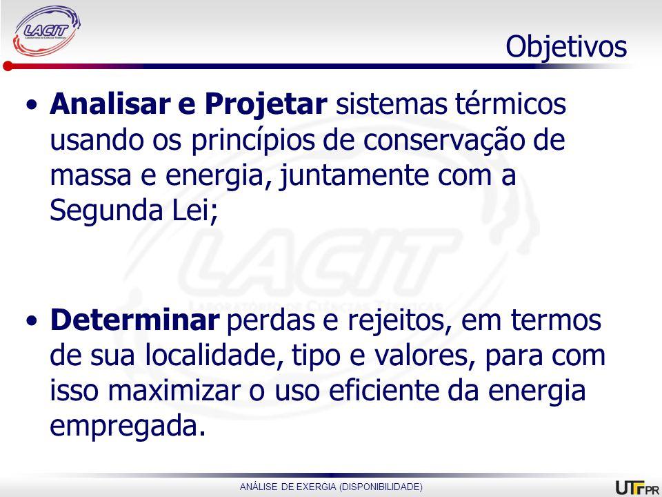 ANÁLISE DE EXERGIA (DISPONIBILIDADE) Objetivos Analisar e Projetar sistemas térmicos usando os princípios de conservação de massa e energia, juntament