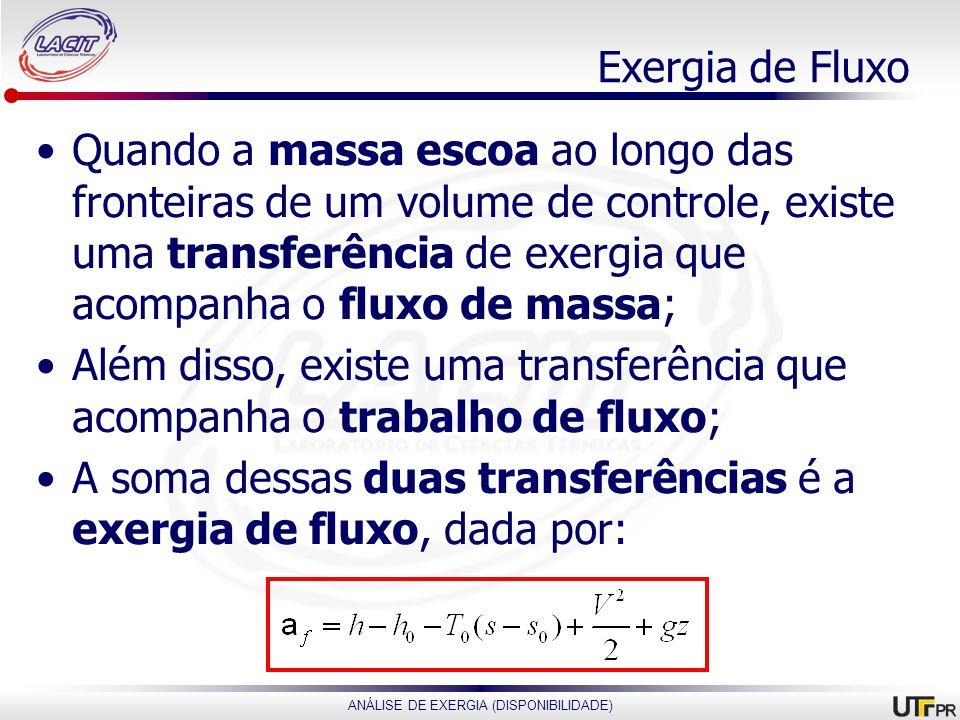 ANÁLISE DE EXERGIA (DISPONIBILIDADE) Exergia de Fluxo Quando a massa escoa ao longo das fronteiras de um volume de controle, existe uma transferência