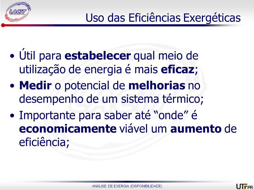 ANÁLISE DE EXERGIA (DISPONIBILIDADE) Uso das Eficiências Exergéticas Útil para estabelecer qual meio de utilização de energia é mais eficaz; Medir o p
