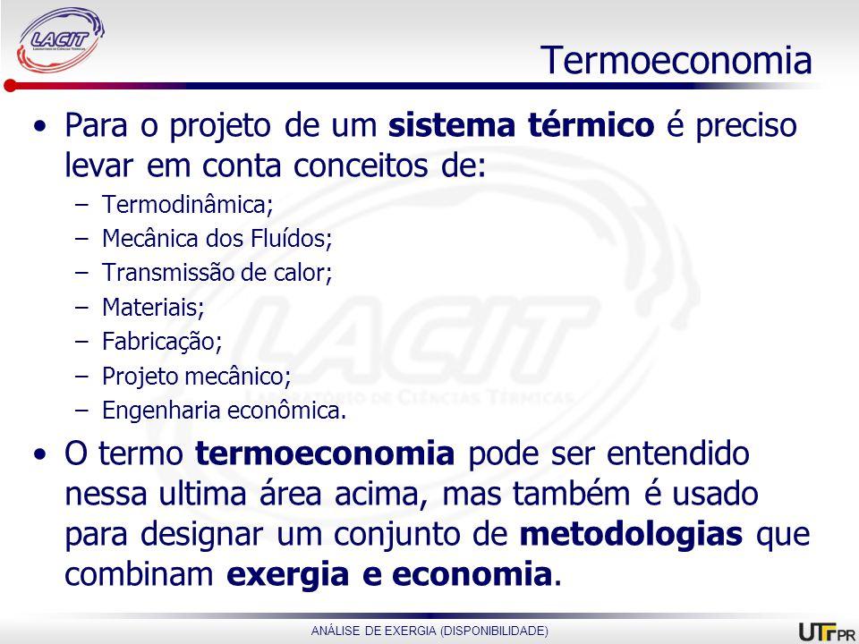 ANÁLISE DE EXERGIA (DISPONIBILIDADE) Termoeconomia Para o projeto de um sistema térmico é preciso levar em conta conceitos de: –Termodinâmica; –Mecâni