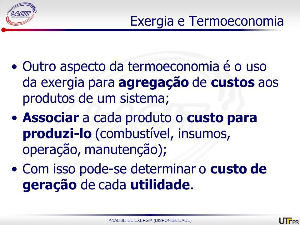 ANÁLISE DE EXERGIA (DISPONIBILIDADE) Exergia e Termoeconomia Outro aspecto da termoeconomia é o uso da exergia para agregação de custos aos produtos d