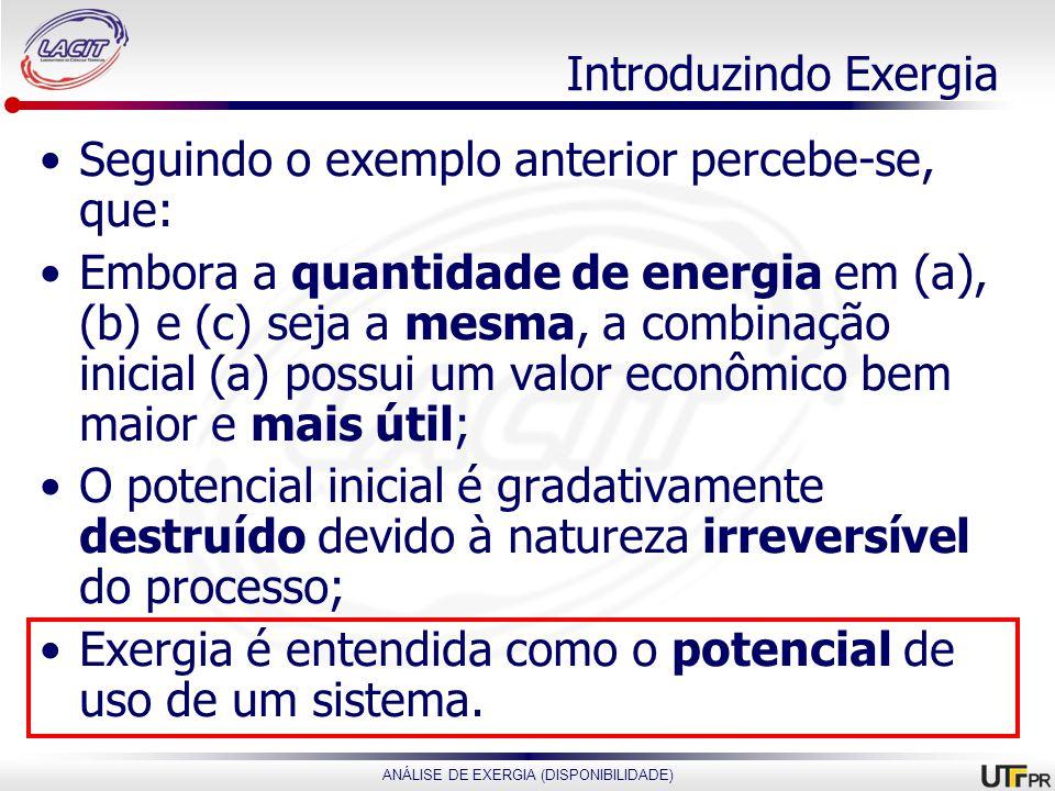 ANÁLISE DE EXERGIA (DISPONIBILIDADE) Introduzindo Exergia Seguindo o exemplo anterior percebe-se, que: Embora a quantidade de energia em (a), (b) e (c