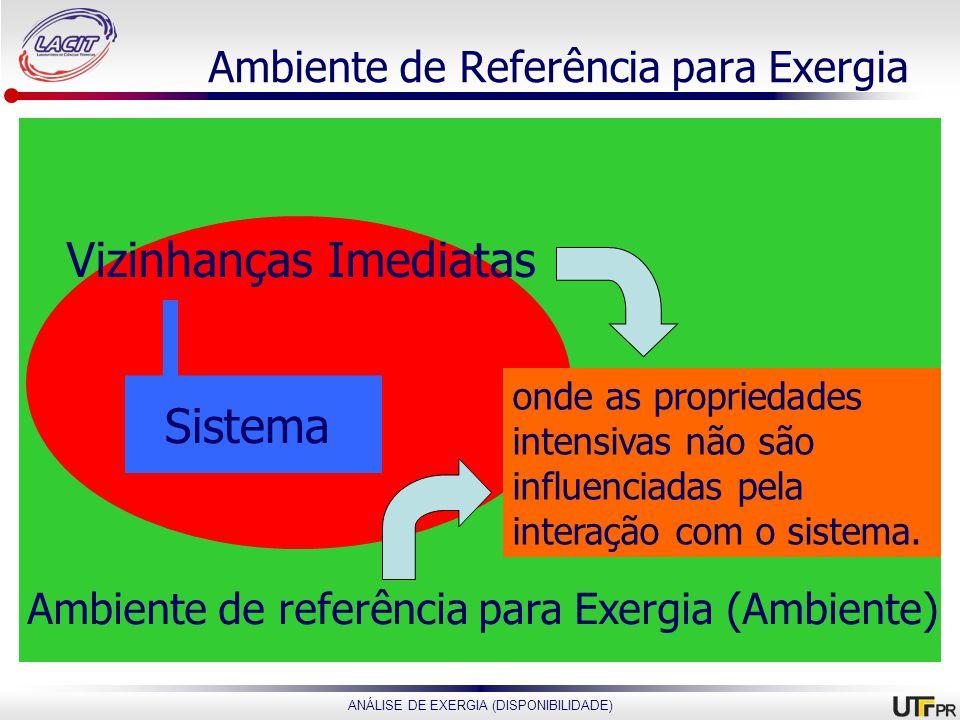 ANÁLISE DE EXERGIA (DISPONIBILIDADE) Ambiente de Referência para Exergia Vizinhanças Imediatas Sistema Ambiente de referência para Exergia (Ambiente)