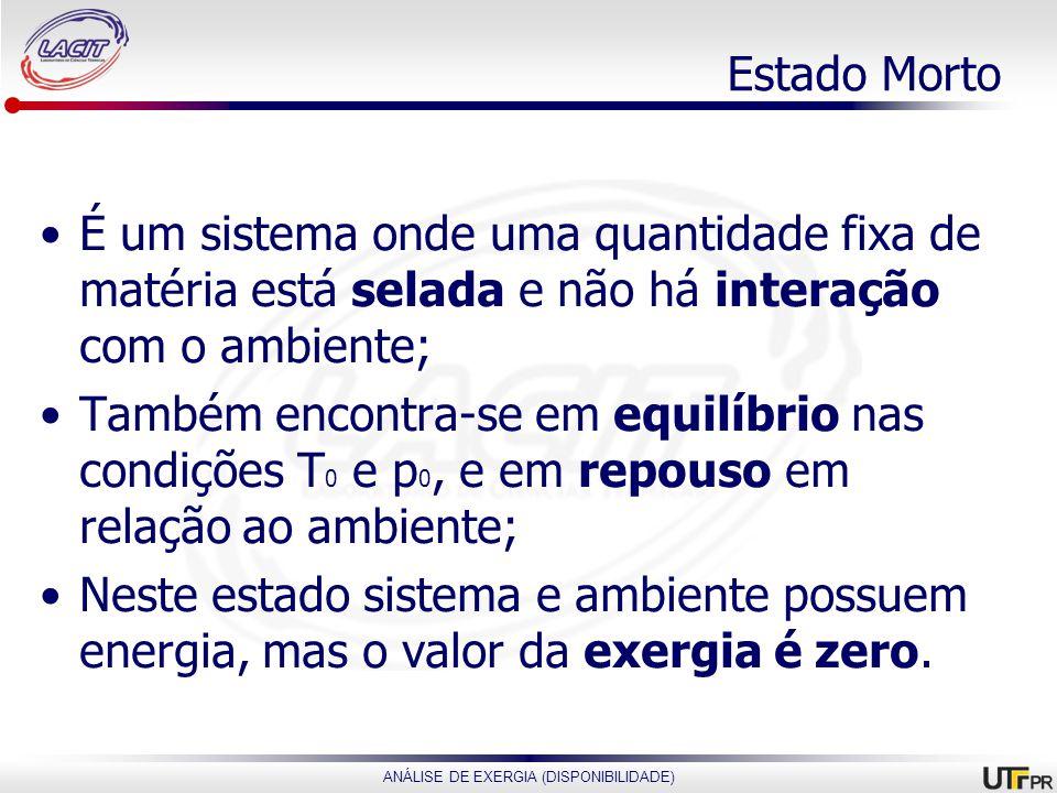 ANÁLISE DE EXERGIA (DISPONIBILIDADE) Estado Morto É um sistema onde uma quantidade fixa de matéria está selada e não há interação com o ambiente; Tamb