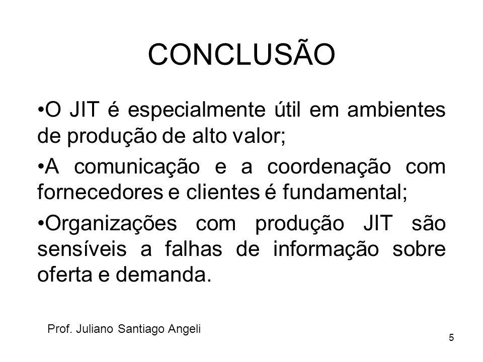 5 CONCLUSÃO O JIT é especialmente útil em ambientes de produção de alto valor; A comunicação e a coordenação com fornecedores e clientes é fundamental