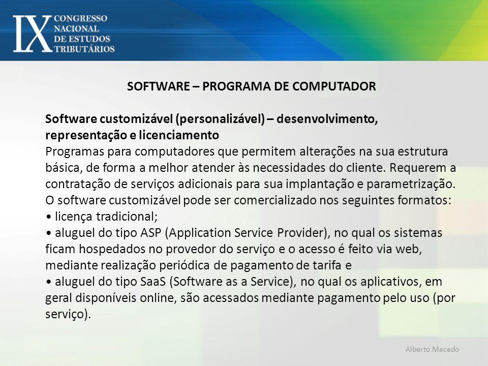 SOFTWARE – PROGRAMA DE COMPUTADOR Software customizável (personalizável) – desenvolvimento, representação e licenciamento Programas para computadores