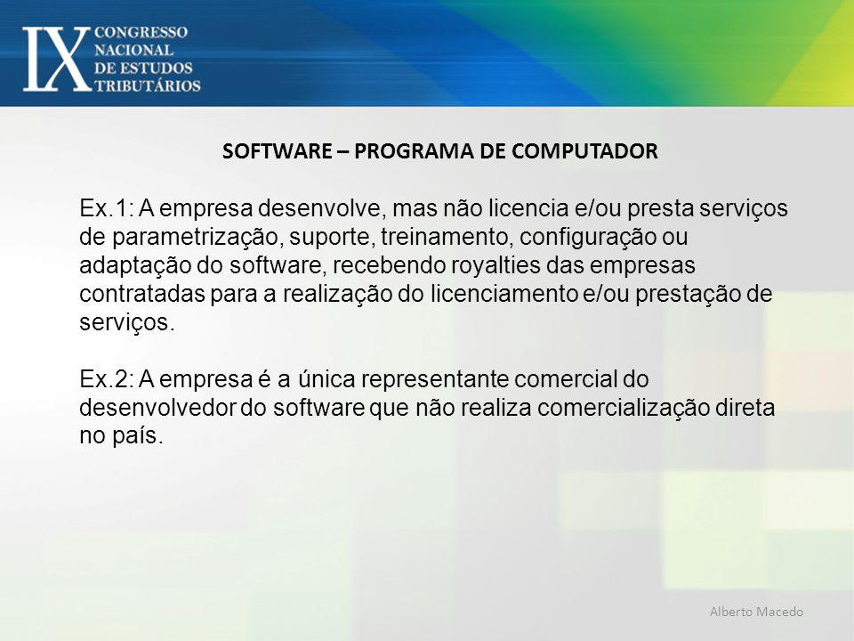 SOFTWARE – PROGRAMA DE COMPUTADOR Ex.1: A empresa desenvolve, mas não licencia e/ou presta serviços de parametrização, suporte, treinamento, configura