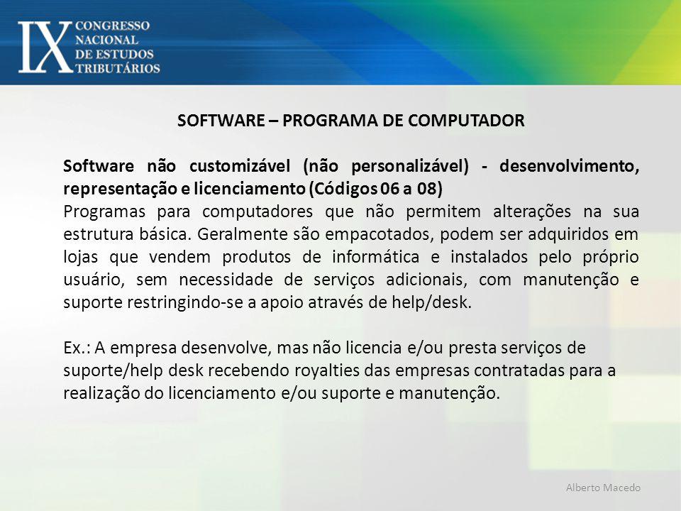 SOFTWARE – PROGRAMA DE COMPUTADOR Software não customizável (não personalizável) - desenvolvimento, representação e licenciamento (Códigos 06 a 08) Pr